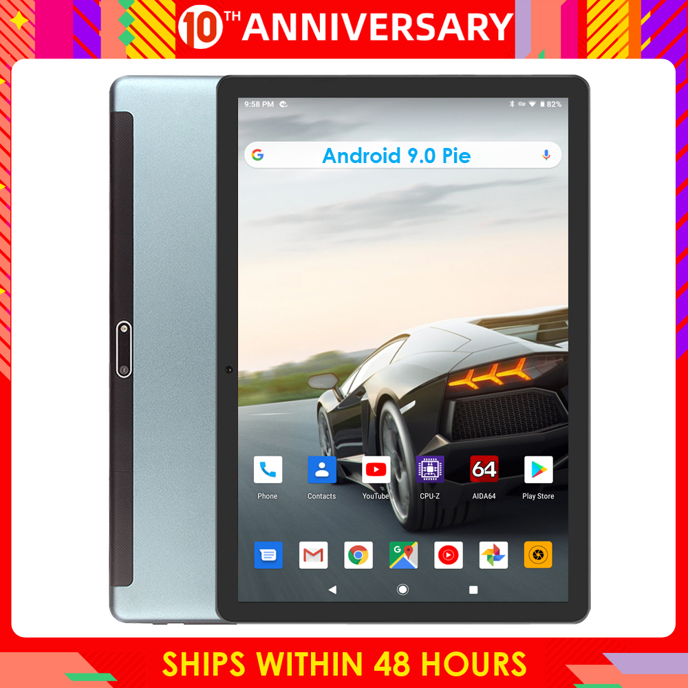 10 Inch tablet pc Google Android 9.0 OS Dual Sim Cards 3G Phone Call 1280x800 IPS WIFI Bluetooth GPS Netflix Media Pad title=