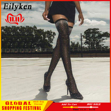 Eilyken Woman Boot Heel Fabric-Sock Runway Crystal Stretch Over-The-Knee Thigh Pointy-Toe