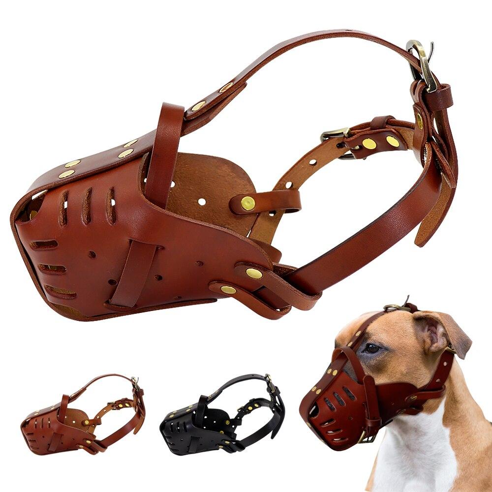 Real Leather Dog Muzzle, Anti Biting Muzzle, No Bite, Anti Bark Mask For Medium & Large Dogs | DogsMall-International