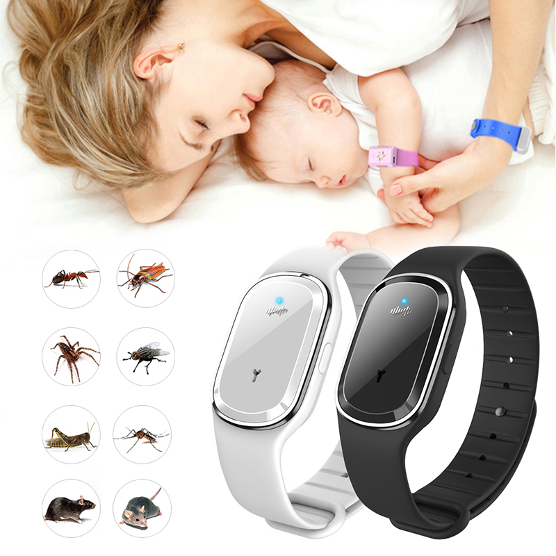 Bracelet Waterproof Bugs Ultrasound Mosquito-Repellent Insect Pest Natural Outdoor Kids title=