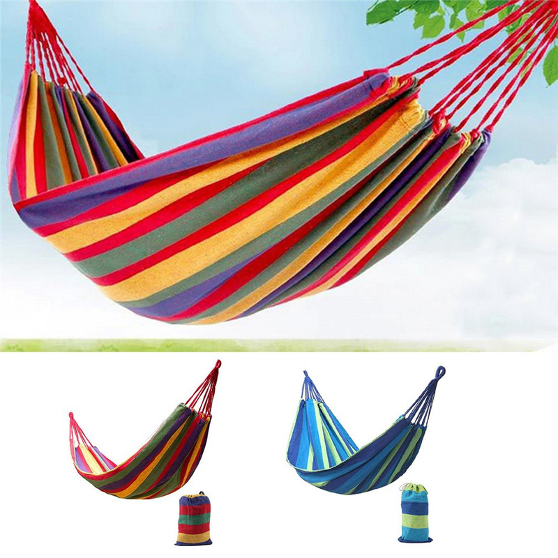 Hanging-Bed Sleeping-Swing-Hammock Hammock Outdoor Canvas Striped Camping 2-Persons Hunting title=