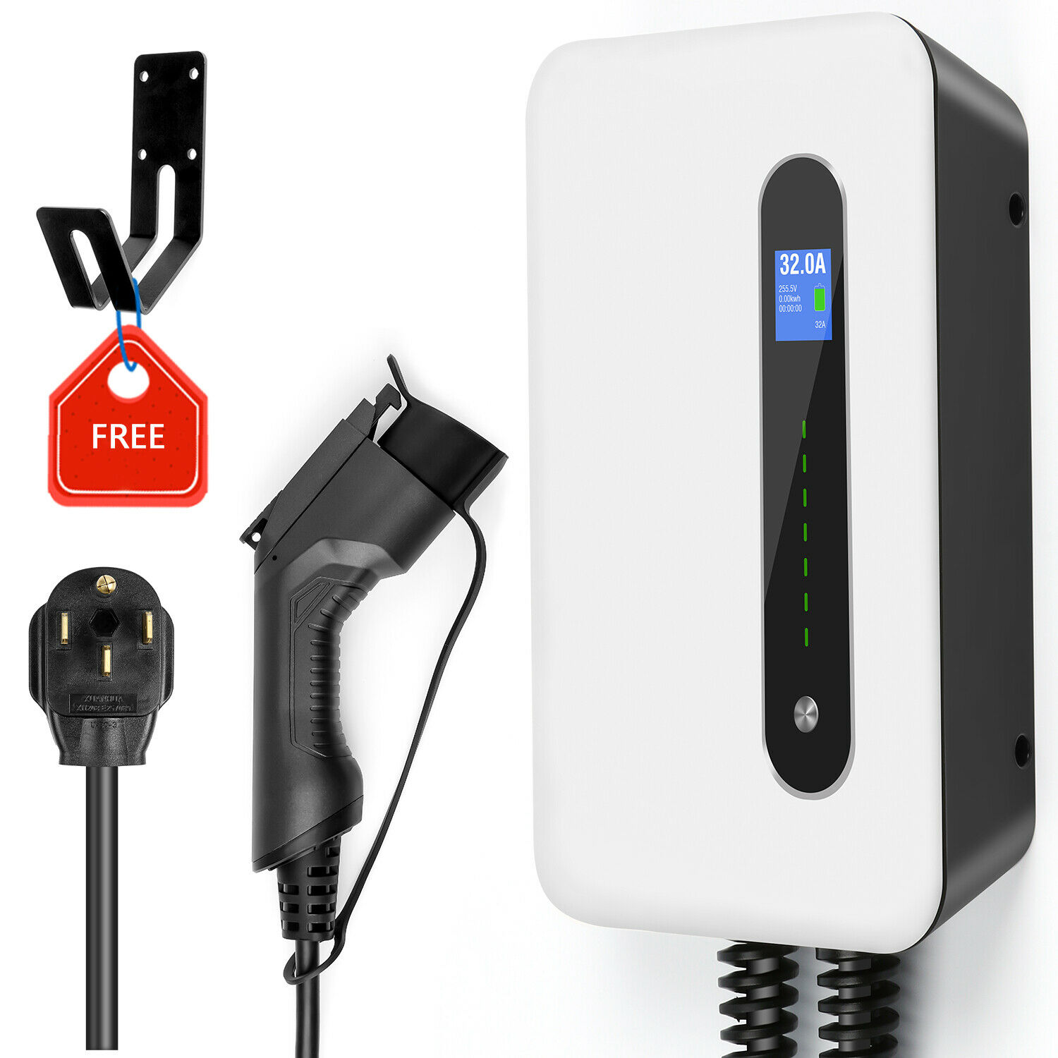 EV Charging Station Wall-mounted Electric Vehicle Charger EVSE Wallbox SAE J1772 32A Level2 220-240V NEMA 14-50 title=