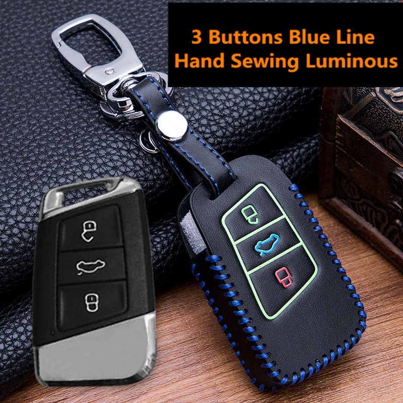 Luminous-Leather-Car-Key-Remote-Cover-Case-For-Volkswagen-VW-Tiguan-MK2-2017-2018-2016-Magotan (1)