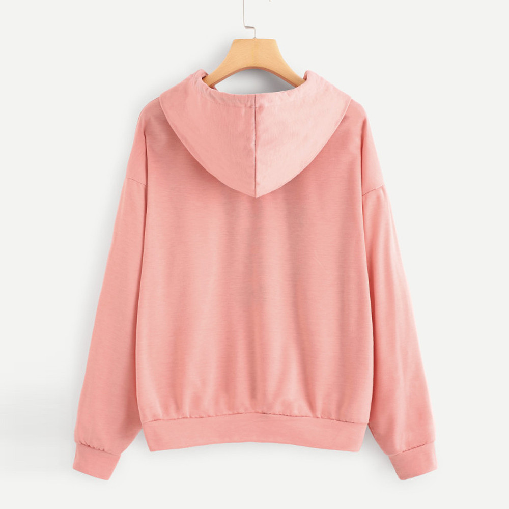 JAYCOSIN Women O-Neck Hoodie Jumper Long Sleeve Letter Print Casual Hooded Unique Sweet Comfortable Chic Pullover Tops Blouse