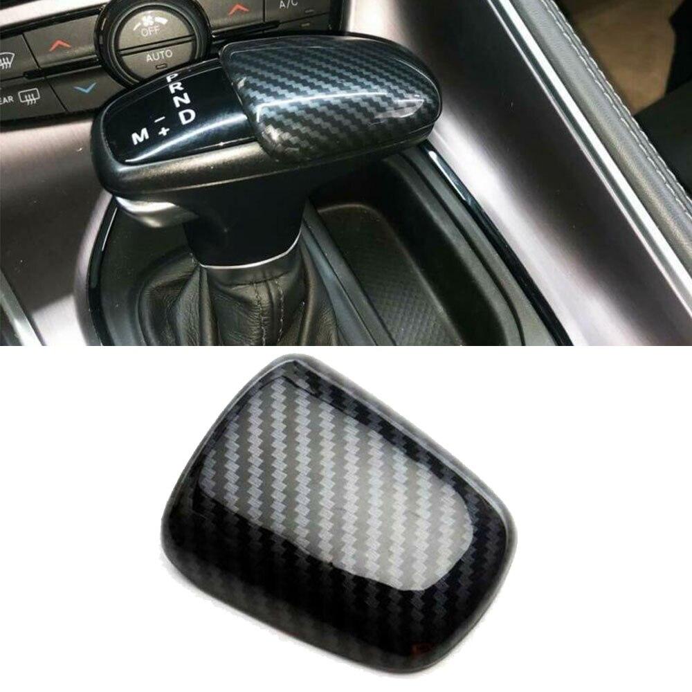 3PCs JeCar Carbon Fiber Gear Shift Knob Cover Handle Sticker Trim for 2015-2019 Dodge Challenger Charger 2018-2020 Durango Accessories