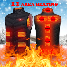 Winter Heating Jacket Heated-Vest Thermal-Clothing Women Blacks-4xl New Usb 11places