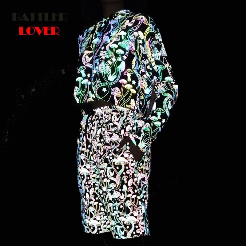 Men 3D Mushroom Reflective Shorts Joggers Hip Hop Dance Show Party Night Light Jogger Baggy Mid Short for Lovers Plus Size 3XL