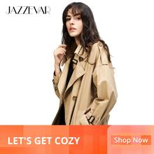 JAZZEVAR Outwear Clothing Trench-Coat Oversize Loose Vintage Autumn Double-Breasted Women's