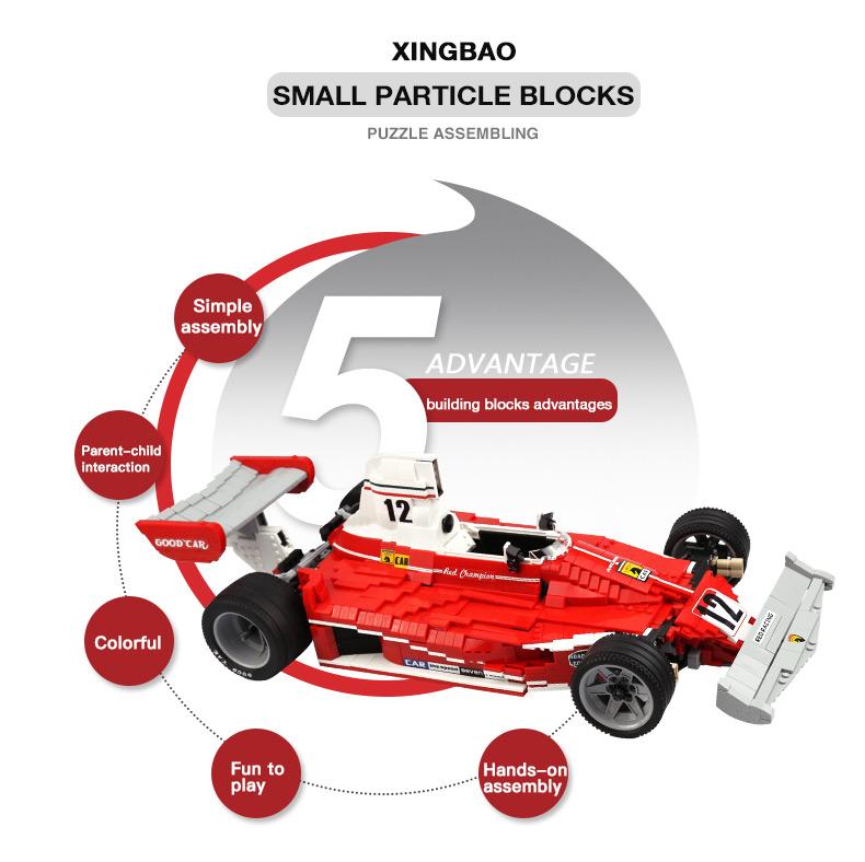 XingBao XB-03023 Red Power Racing Car Ferrariii 312T Building Block 17