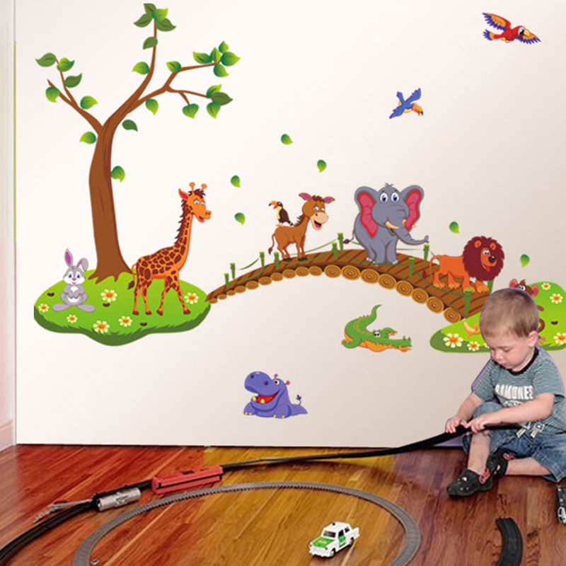 New Cartoon Forest Animals Wall Sticker For Kids Rooms Pvc Mural Stickers Adhesive Wall Art Decor For Girls Boys Rooms