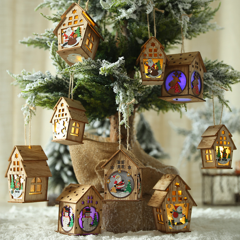Festival Led Light Wood House Christmas Tree Decorations For Home Hanging Ornaments Christmas Gift Navidad Fairy Light