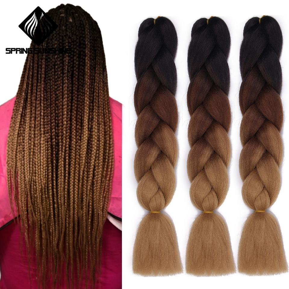Braiding Hair Hair-Extensions Jumbo Crochet Yaki Synthetic Long Ombre Women 24inch Spring Sunshine title=