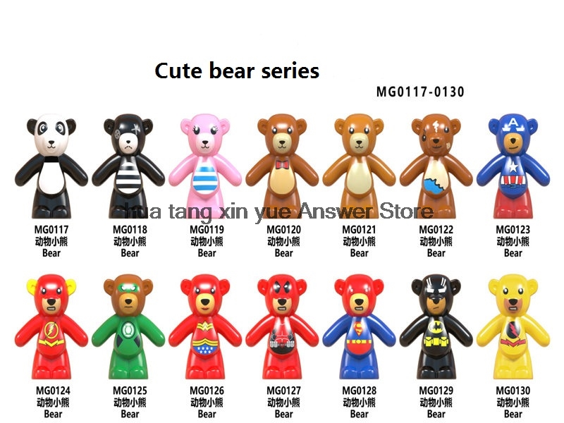 Legoing Animal Blocks superhero character Iron Man Spiderman Series cute bear building blocks panda multiple colour DIY Kid toy