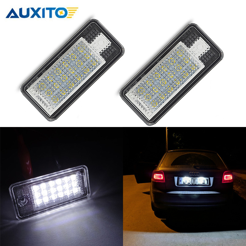 2x Led license Plate Light For Audi Q7 A3 S3 A4 S4 B6 B7 A6 C6 S6 RS6 A8 S8 12V