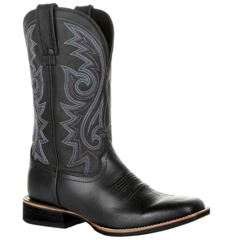 Right-side view of a Black Western Cowboy Motorcycle Boot