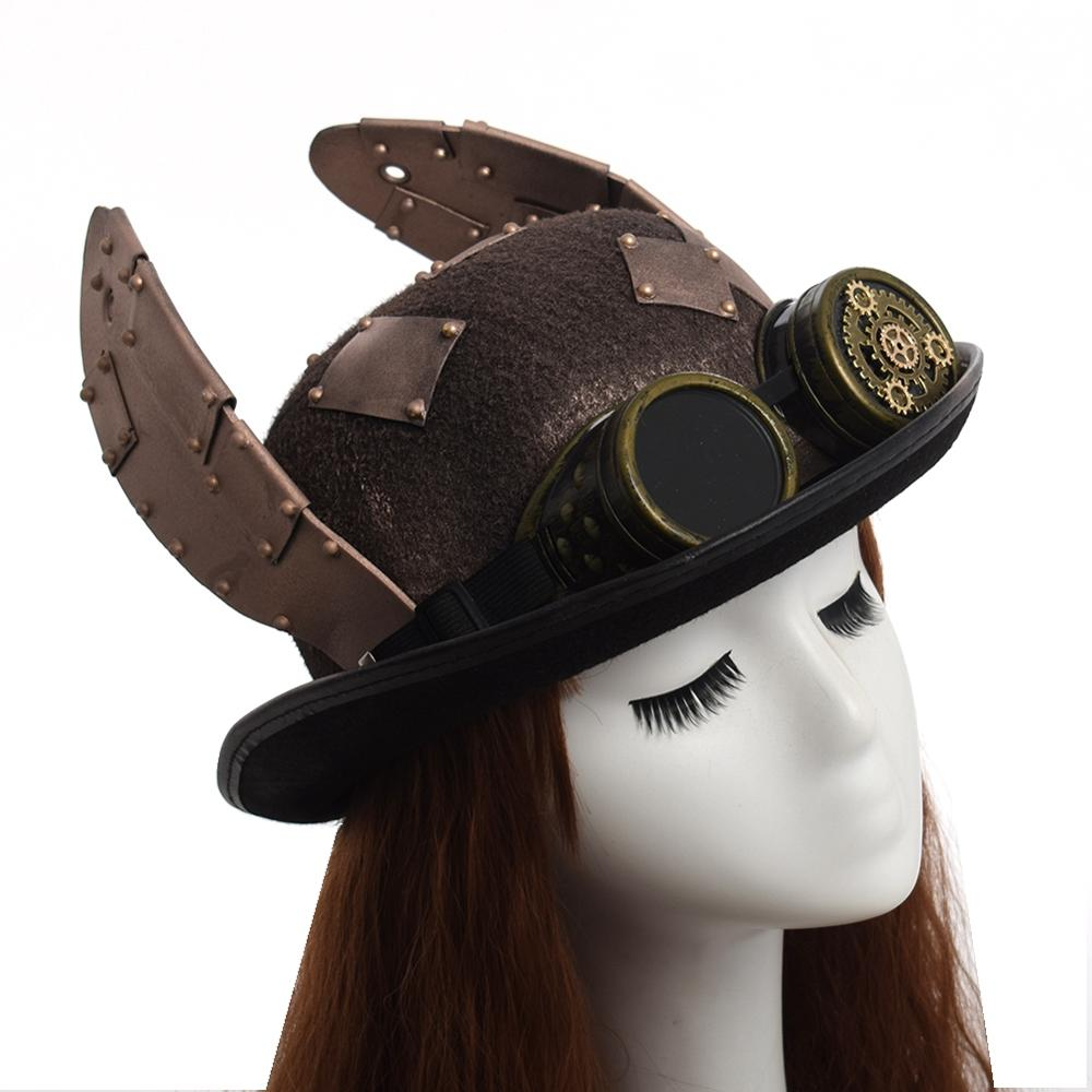 Women Steampunk Festival Party Vintage Party Hat with Goggle Brown one Size
