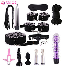 VRDIOS BDSM Bondage Set Handcuffs Dildo Vibrator Anal Plug Whip Nipple Clamps Mouth Gag Adult Game Sex Toys For Woman Couples
