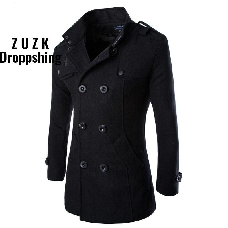 Coats Short Wool Brand-Clothing Male Black Double-Breasted Winter AOWOFS Blends Pea title=