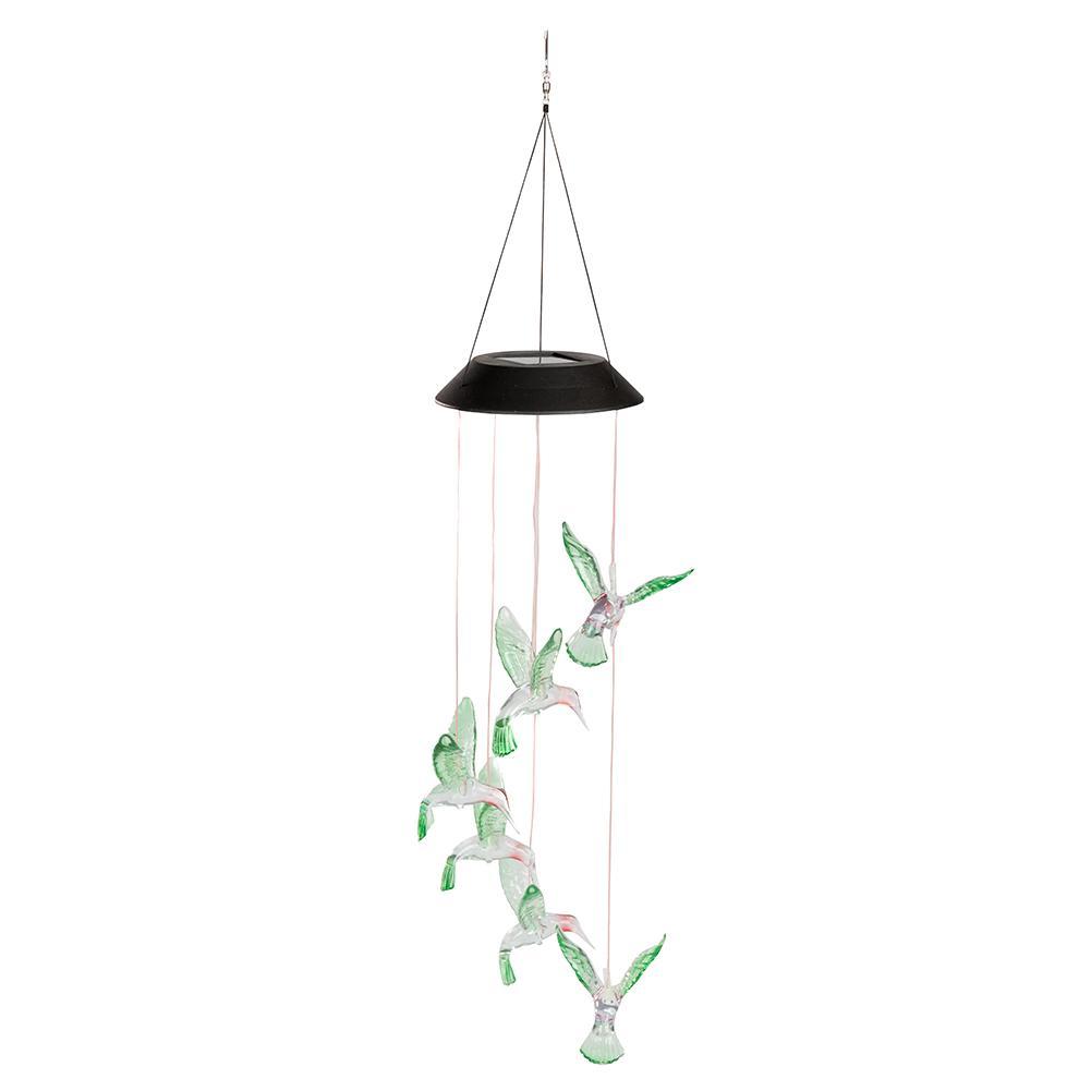 LED Bird Solar Wind Chimes Home Garden Yard Decoration Lamp Colorful Light U7F0