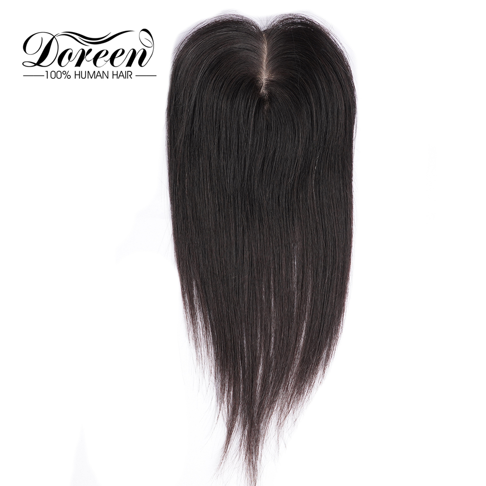 Doreen 8 inch Silk Base Hair Topper Human Hair Toupee  for Women Natural Color Remy Women Toupee with 3 clips