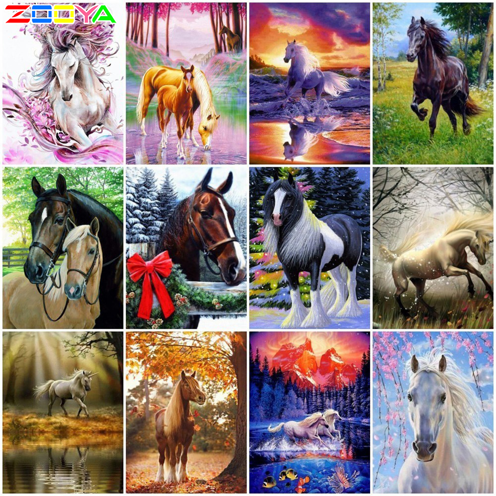Muxun Diamond Painting Cross-Stitch Landscape Animals Full Square Horse Rhinestones H048 title=