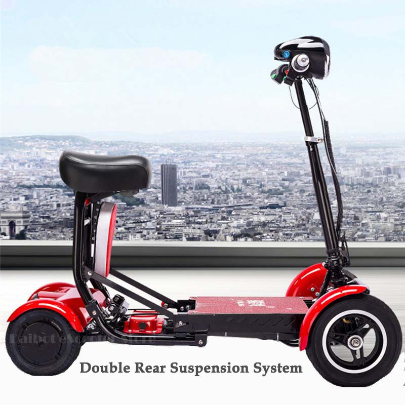 Daibot Electric Elderly Scooter 4 Wheels Electric Scooters 10 Inch 500W Foldable Electric Scooter For Disabled BlueBlackRed (1)