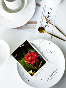 Tableware Dish-Plate Cutlery Crockery-Cup Breakfast Ceramic Bowl Retro Brush Pure-White