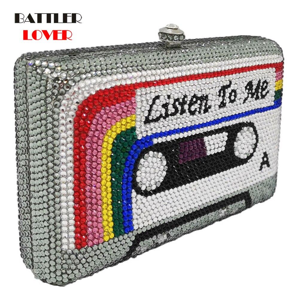 Crystal Evening Bags Wedding Party Diamond Box Minaudiere Handbag and Purse Listen2me Cassette Tape Clutch Women Shoulder Bags