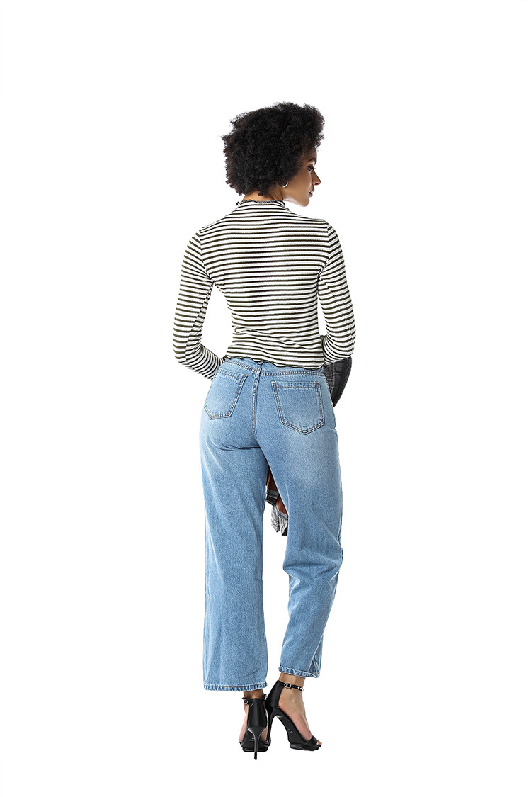 Women Leisure Loose High Waist Vintage Wide Leg Jeans Pants  Korean Style Simple Fashion Jeans Pants