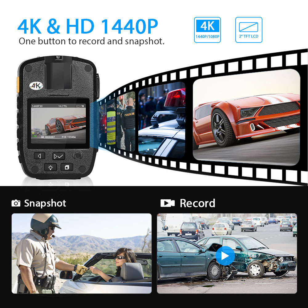 BOBLOV HD31 Body Camera 1296P Telecamere corpo agente di polizia con 8 ore di registrazione e visione notturna automatica Obiettivo 140 /° con caricatore per auto aggiuntivo 64G