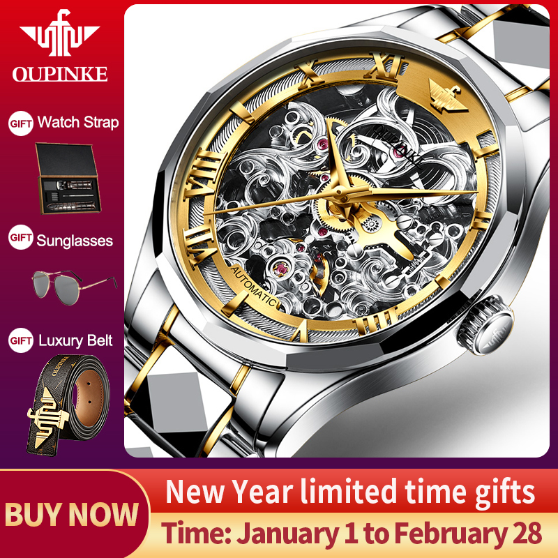 OUPINKE 2020 Luxury Men Mechanical Wristwatch Skeleton Automatic Watch Top Brand Sapphire Waterproof Watch Men relogio masculino