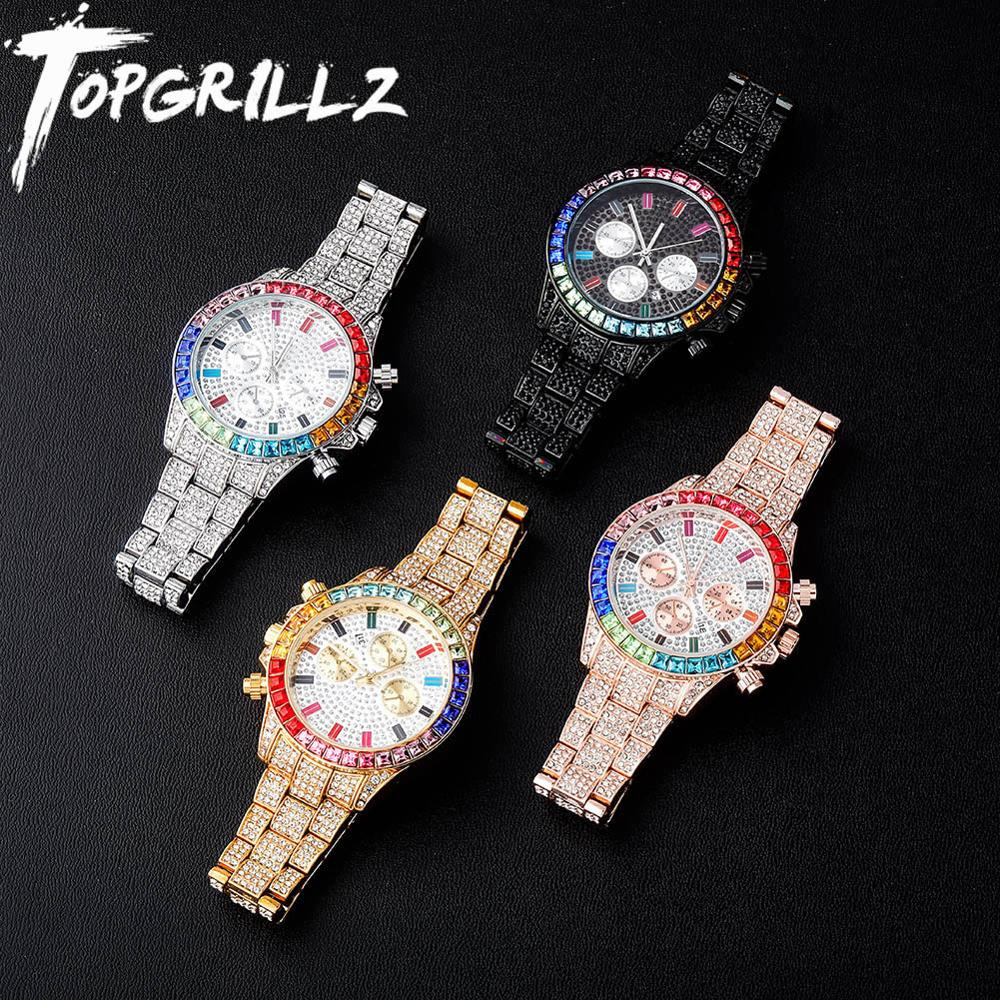 TOPGRILLZ 2020 New Watches Quartz HIP HOP Watches With Micro Pave Iced Out Cubic Zirconia Stainless Steel Watches Clock relogio