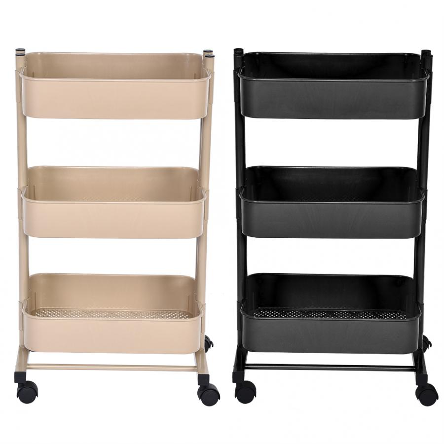 Organizer Cart Wheels Bathroom Kitchen Moving with Flexible Hiogh-Quality Triple-Layers title=
