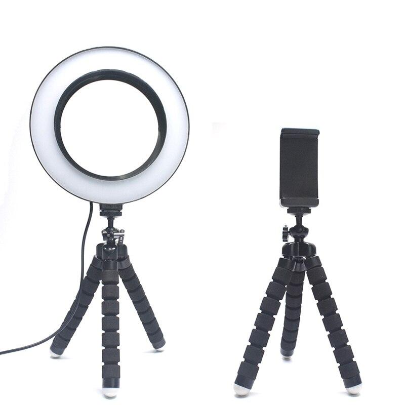 Кольцевой светильник 6,3 дюйма/16 см для фотосъемки, светильник со штативом-осьминог, кольцевая лампа с зажимом для телефона, для макияжа Youtube, видео в реальном времени