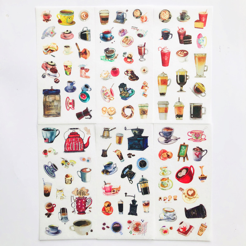 6 Sheets Delicious Coffee Decorative Stickers Diary Notebook Computer Decoration