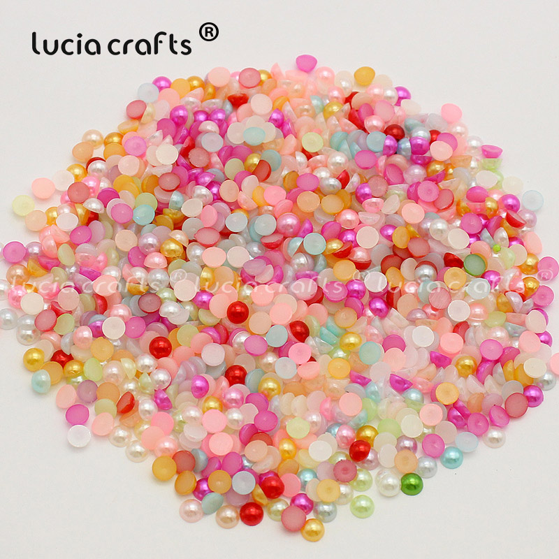 50g//Lot Flatback Pearl Resin Pearl Beads Half Round Faux Pearl for DIY Craft
