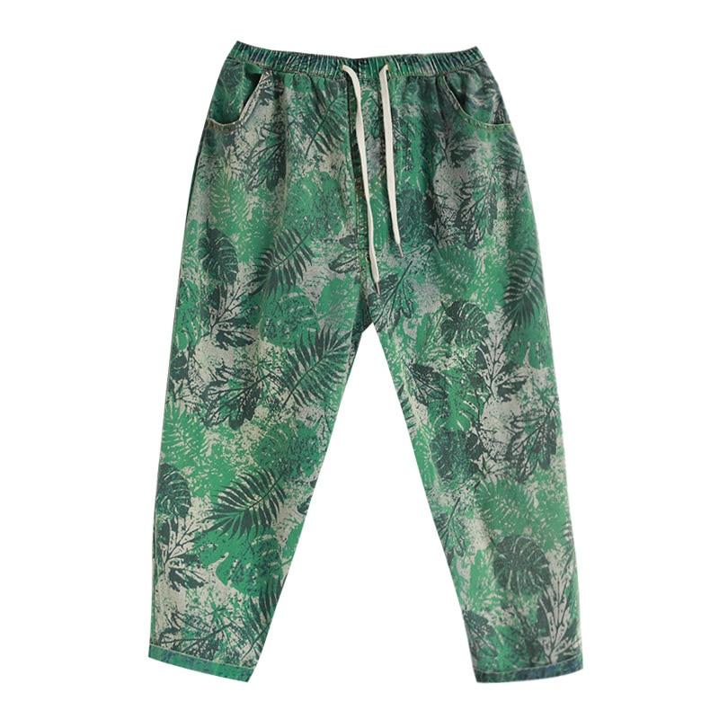 Summer Jeans 2020  Women Retro Elastic Waist Print Denim Pants Ladies Casual pocket Drawstring Slim-type Casual Trousers
