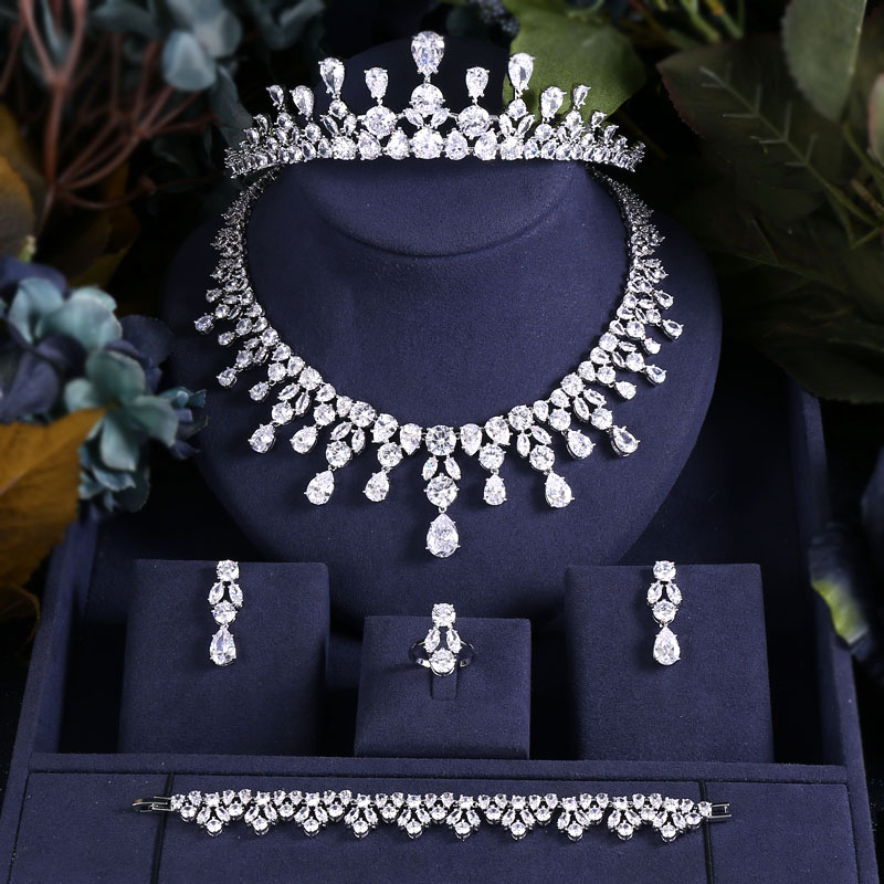 Jewelry-Sets Dubai Jankelly Gold-Color Bridal-Zirconia Nigeria Luxury Crystal Women 5pcs title=
