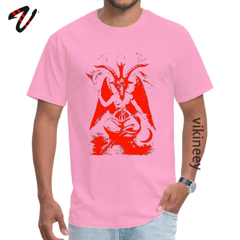 Red Baphomet Casual Father Day 100% Cotton Fabric Round Neck Men's Tops & Tees Tops & Tees 2019 Short Sleeve T Shirts Red Baphomet 9795 pink