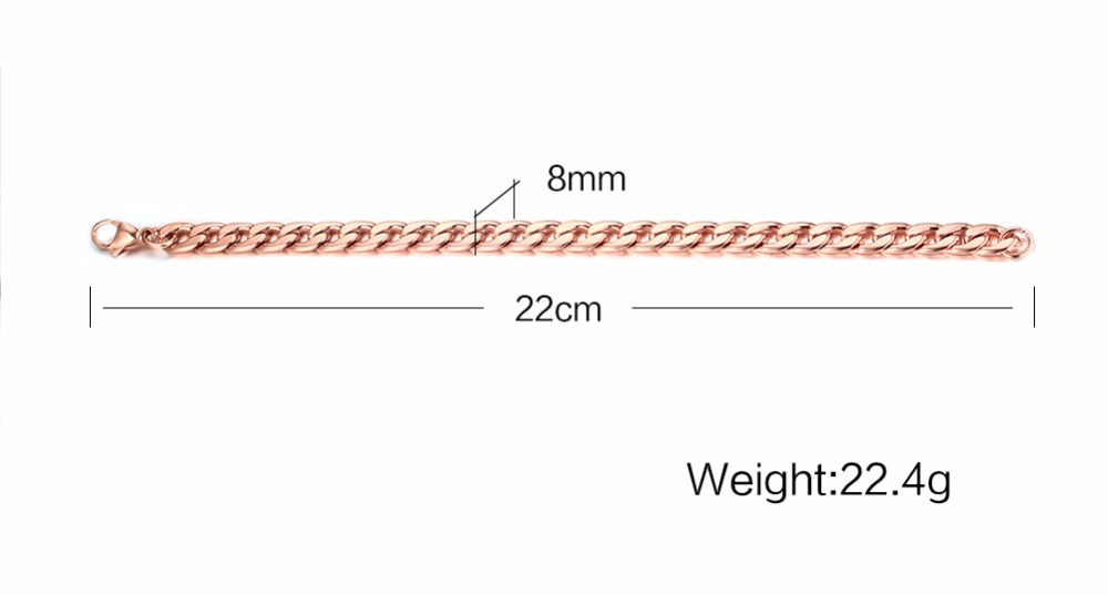 Mens Womens Bracelets in Rose Gold Best Stainless Steel Cuban Curb Link Chain Bracelet Men Fashion Jewerly Accessories Pulseira Masculina 19