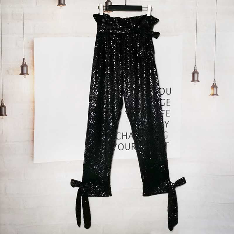 women 2020 lace up straps Sequins Leggings Casual Type High Waist Cargo Straight Pant Trousers Women Jogger Women Pants