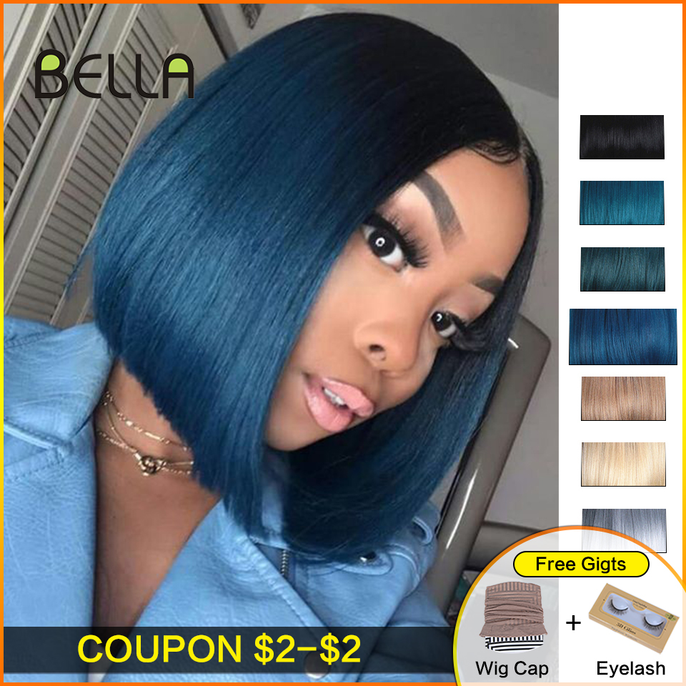 Bella Blue Wig Short Blonde Straight-Hair Brown Dark-Roots Lace-Front Ombre Synthetic title=