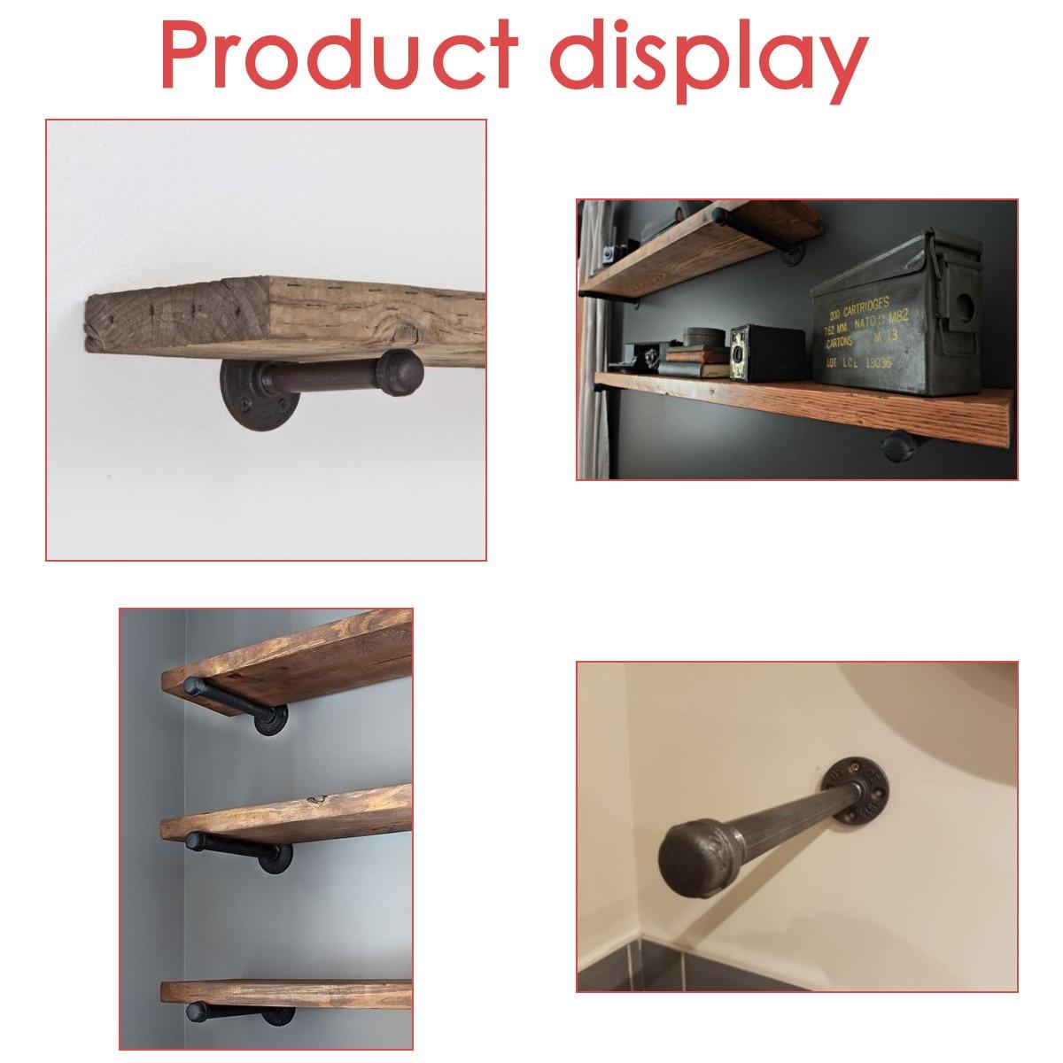 GoYonder 10 Industrie Eisen Rohr Regalhalter /¾ Retro Wandregal Halterung Vintage Regalhalterung Home Design 2 St/ück mit Montagezubeh/ör