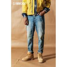 SIMWOOD vintage wash carrot jeans men 2019 autumn new loose ankle-length denim trousers plus size quality tapered jean 19041(China)