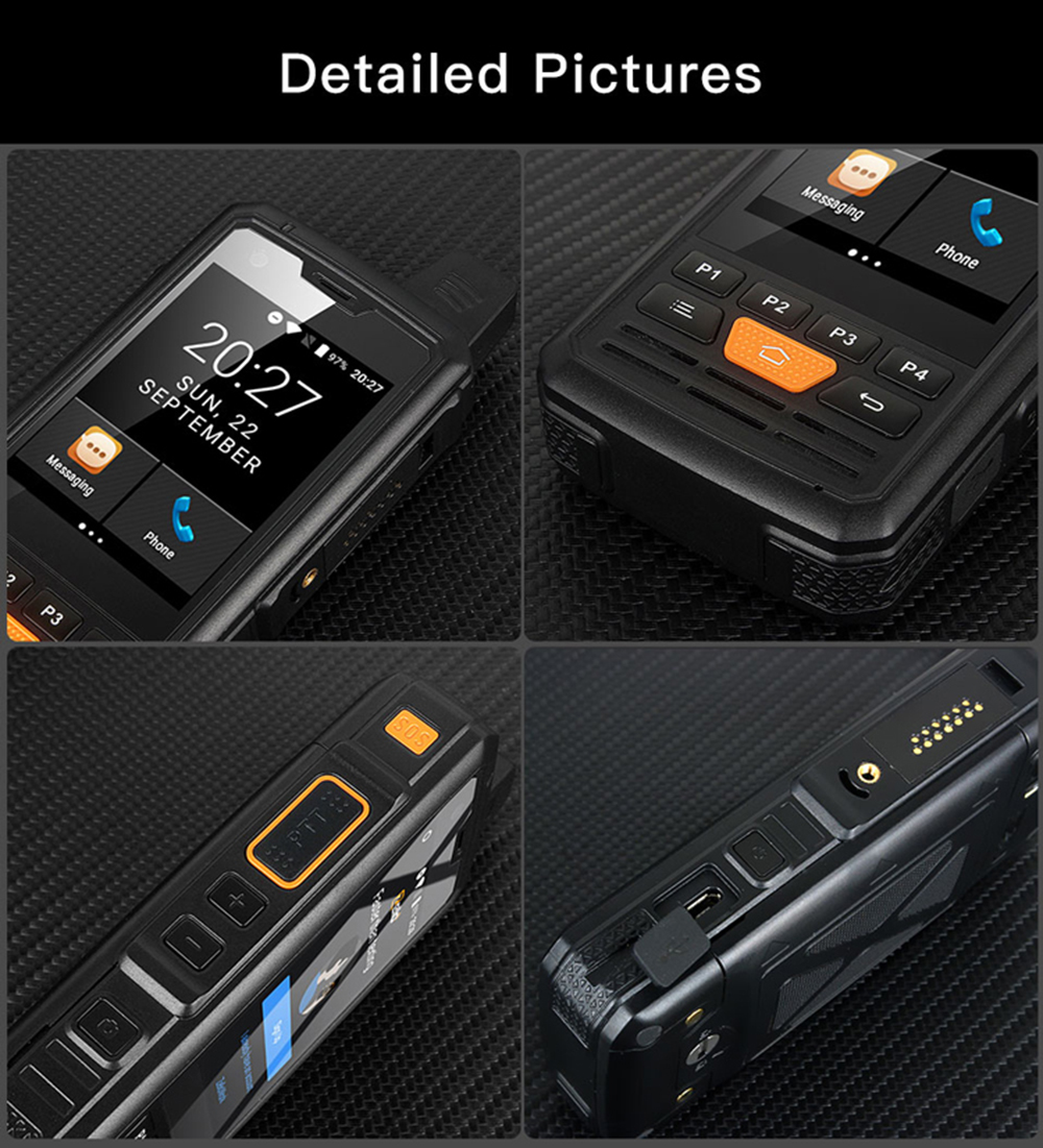 UNIWA F50 Zello PTT Walkie Talkie 2.8 inch Touch Screen 4000mAh 4G LTE Android 6.0 Smartphone Quad Core 2G 3G 4G Cellphone