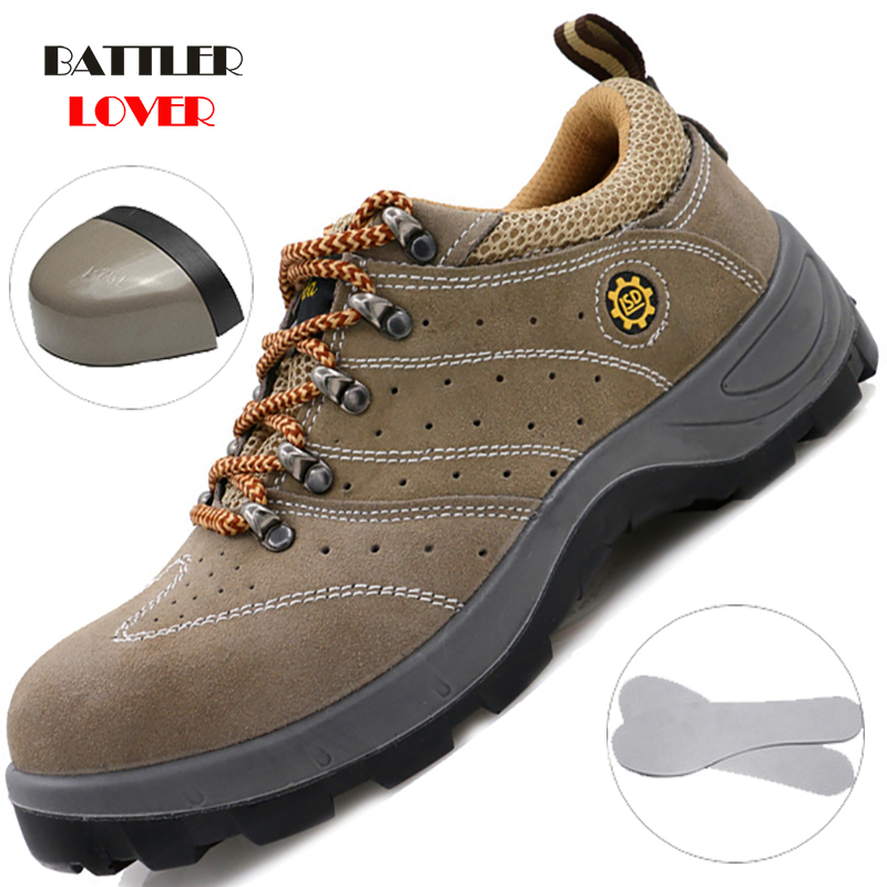 Men Safety Shoes Steel Cap Toe Work Boots Work Safety Shoes Male Safety Ankle Boots Workshop Security Shoes for Men Botas Unisex