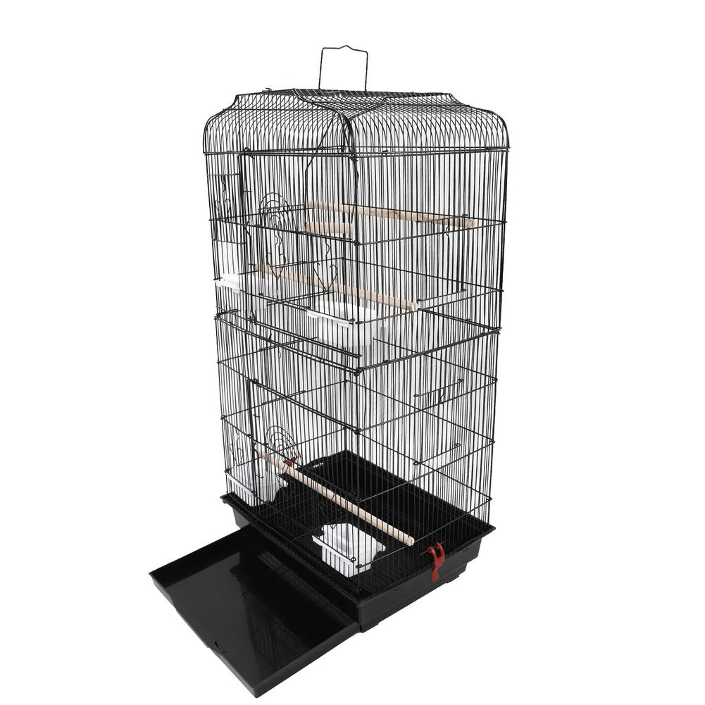"""Crib - 37"""" Bird Parrot Cage Canary Parakeet Cockatiel LoveBird Finch Bird Cage with Wood Perches & Food Cups Black"""