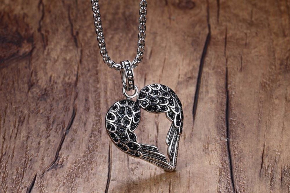 Fashion Punk Mens Necklaces Pendant Stainless Steel Black Tone Crystal Guardian Angel Heart Wings_Wing  Necklace Gift for Women Teens Girls Boys colar Choker 12