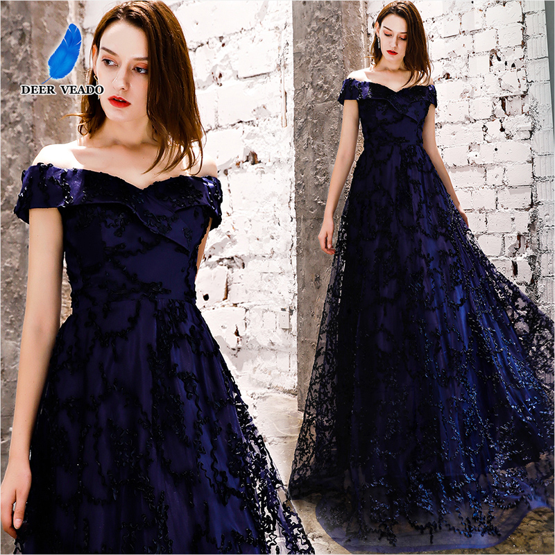 DEERVEADO YS454P Long Prom Dresses 2020 New Collection Tulle Lace Up Back Formal Dress Woman Evening Party Dresses Prom Gown