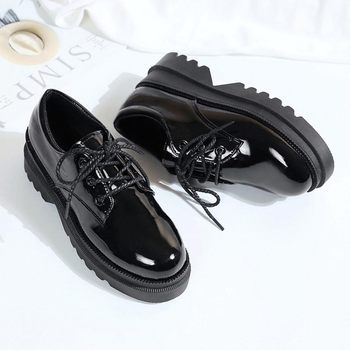 Women Patenter Leather Oxfords Retro Ladies Lace Up Fashion Female Casual Comfort non-slip soft Student girls shoes J14-92